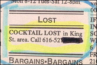 funny lost and found ad for a missing cocktail maybe missing pet