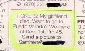 funny ad for free trip holiday to puerto vallart because girlfriend died spare ticket