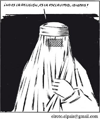¡No es la religión, es la esclavitud, idiotas! el Roto, El País, 2010/09/10