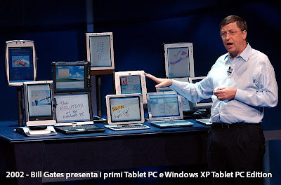 2002 - Bill Gates presenta i primi Tablet PC e Windows XP Tablet PC Edition, il primo sistema operativo con integrate funzionalit Tablet PC