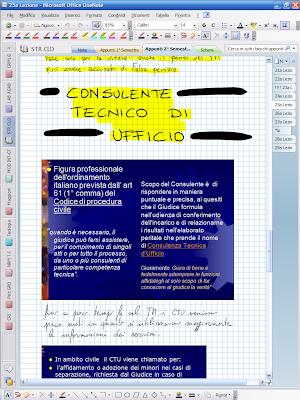 Appunti presi in aula con OneNote 2007, che devo studiare...