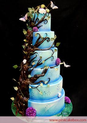 blue wedding cake