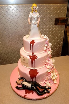 wedding cake with murder topper