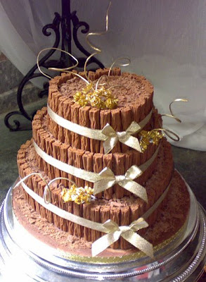 wedding cake coated with chocolate
