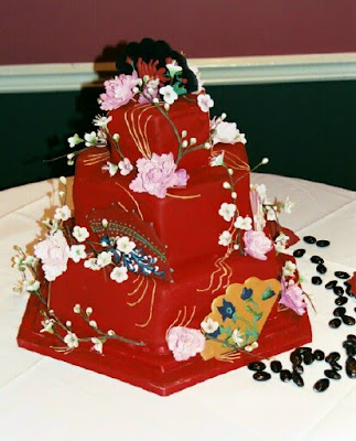 chinese wedding cake with flower