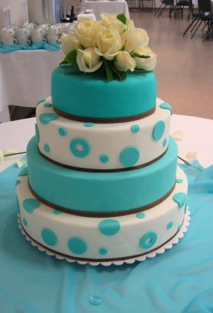 Teal Wedding Cakes With Ribbon Decoration