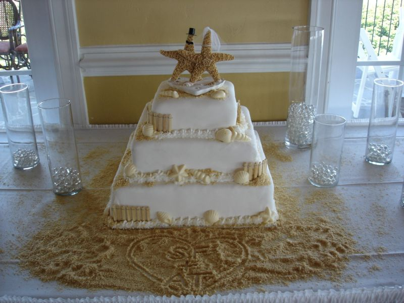 beach theme wedding cakes pictures