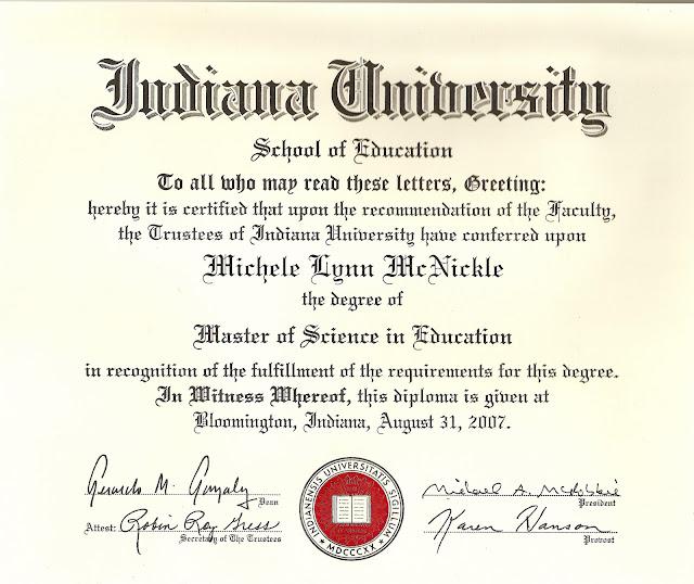 Michele Mcnickles E Portfolio Masters Degree From Indiana University