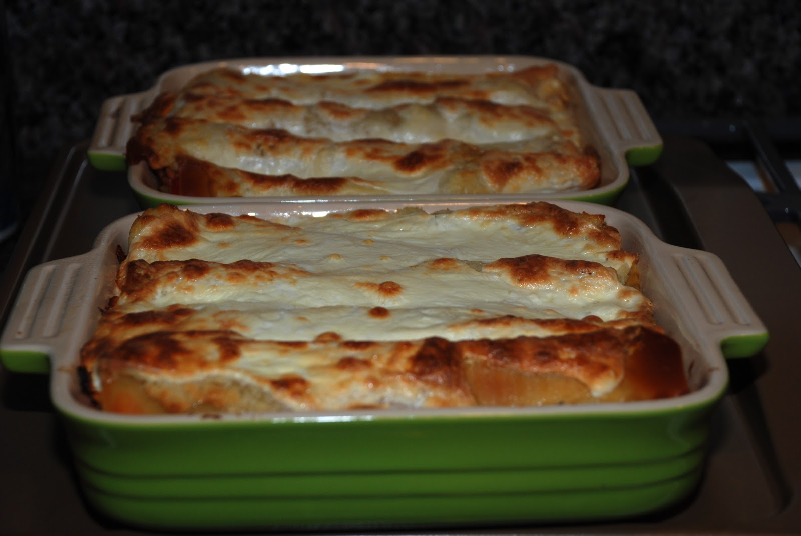 Chicken Lasagna with Roasted Red Pepper and Goat Cheese Lasagna