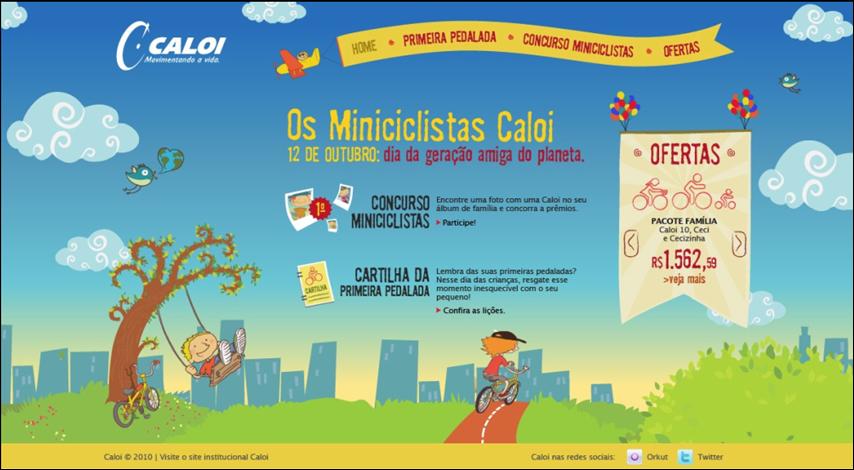 Caloi apresenta hotsite especial para as crianças