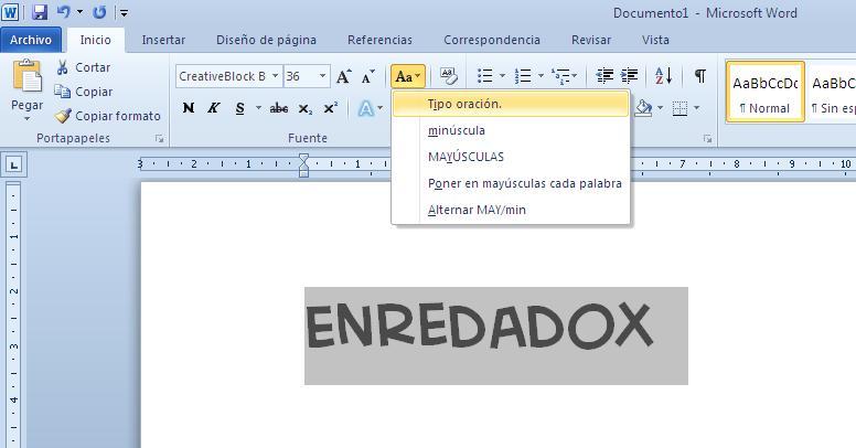 ¿Cómo cambiar el texto de mayúsculas a minúsculas en Word
