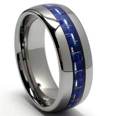 Tungsten Carbide Ring Wedding Band Blue Carbon Fiber Inlay