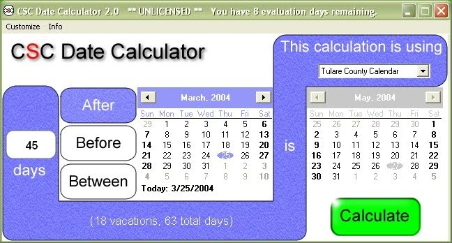 Due date calculator with cycle length