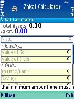 download gratis aplikasi / software handphone zakat calculator, menghitung zakat mal.
