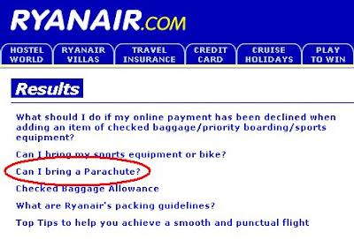 Ryanair parachute.  Worst airline