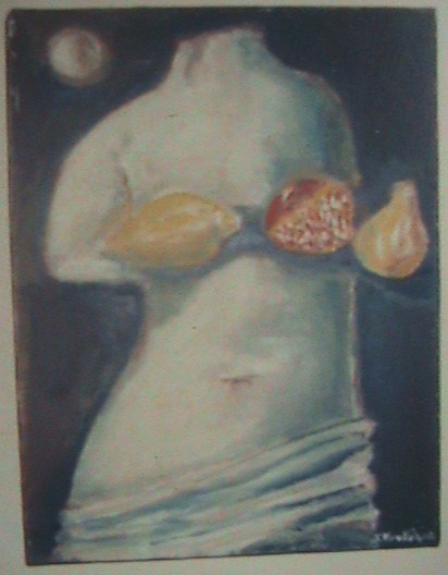 Αφροδιτη της Μηλου [ Venus of Milos ] with flighting fruits  art translation
