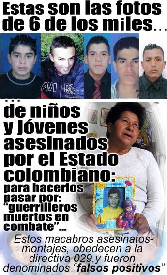 Fotos de 6 de los niños y jóvenes asesinados por el ejército colombiano para sus montajes