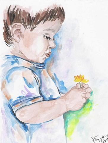 Priče.....  - Page 4 Slika-Decak-sa-cvetom-Vodene-boje-595243x640