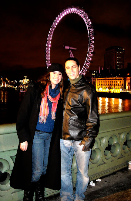 Justin and me in front of the London Eye.