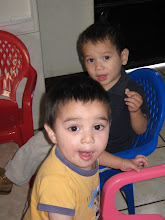Mateo and a friend getting ready to eat