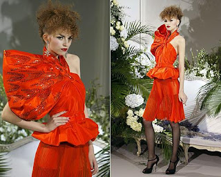 Anabela Belikova in a red skirtsuit at Christian Dior haute couture show @ the fashion escapist