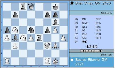 La partie Bacrot - Bhat de la ronde 4 © site officiel
