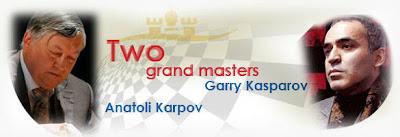 Les ex-champions du Monde d'échecs Anatoly Karpov et Garry Kasparov