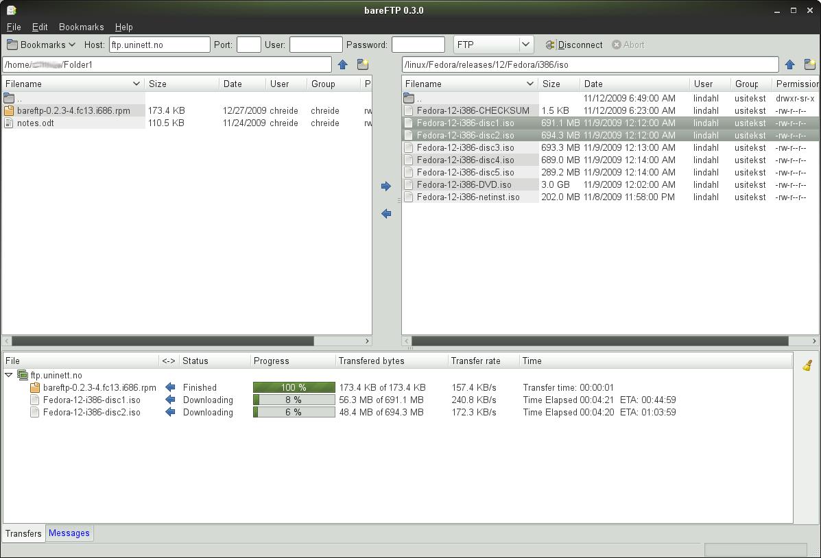 BareFTP: lightweight FTP client