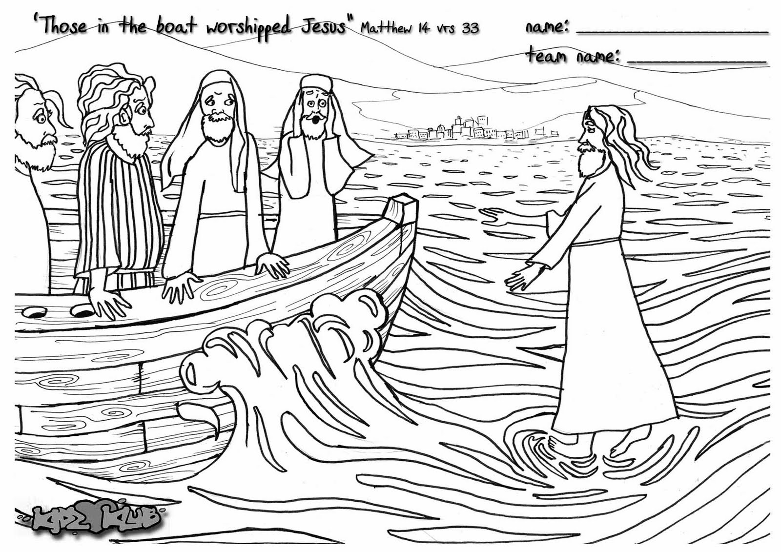 Sketches laura pasterfield for Jesus walks on water coloring pages