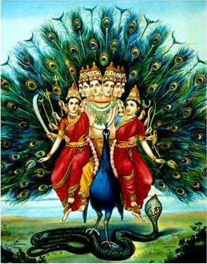 murugan with wives devasena from ravi varma paintings