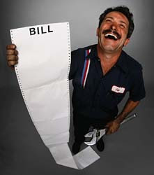 A dishonest auto mechanic delights in revealing a huge bill to a customer.
