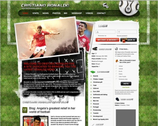 Fantastic Soccer Themed Blog Design