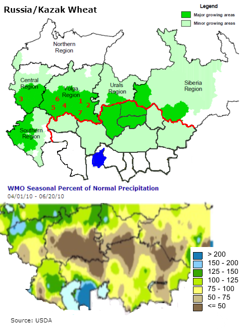 Noggers Blog RussianKazakh Wheat Production Under Threat - Us wheat production map