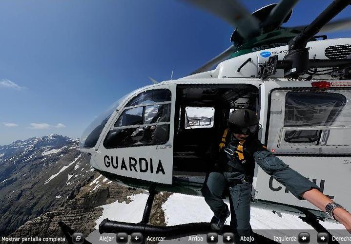 Foto esférica de un simulacre de rescat al Balcó de Pineta (Aragón)