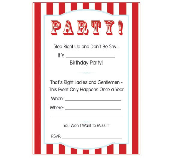Priceless image throughout free printable carnival invitations