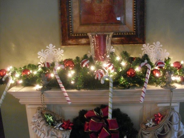 Flowershopgurl candy cane mantel for Pictures of mantels decorated for christmas