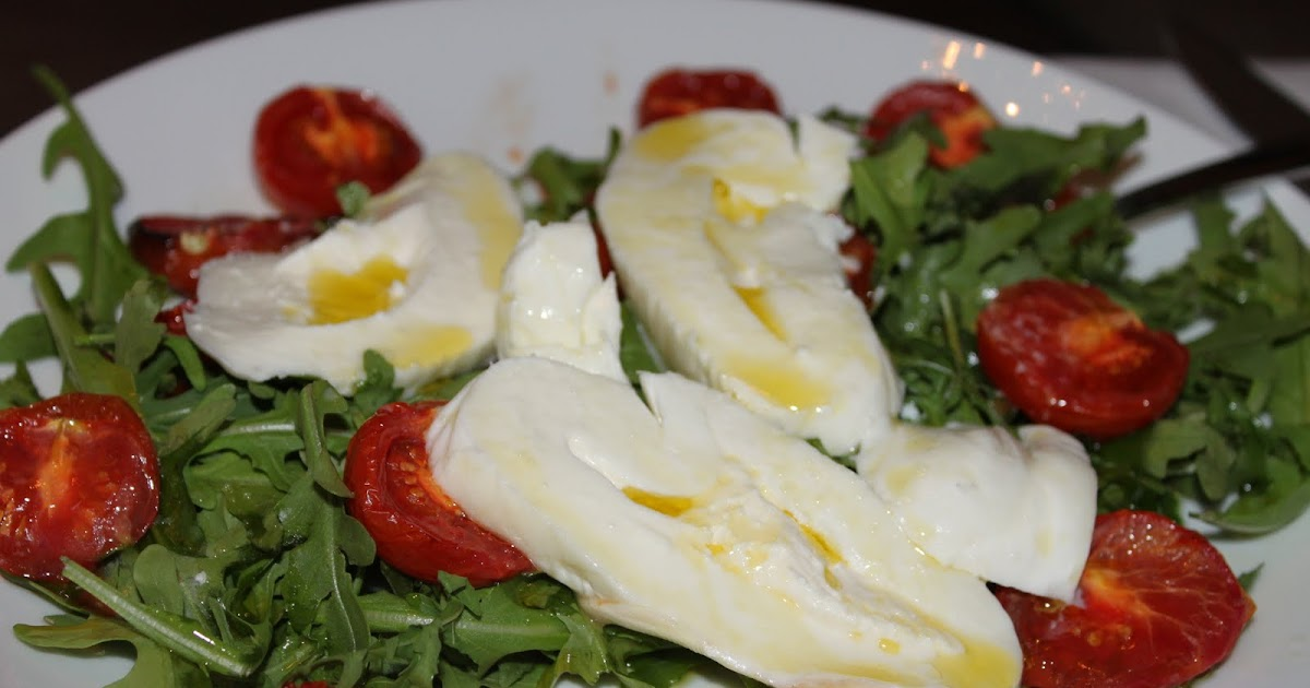 ... : Caprese Salad with Roasted Tomatoes, Arugula and Burrata Cheese