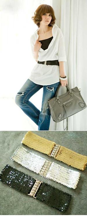 Silver trendy elastic belt