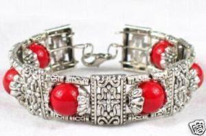 ethnic silver red bracelet
