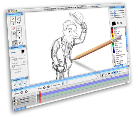 Pencil is a 2D bitmap and vector based, free animation tool for MACs ...: www.animationandvideo.com/2009/12/pencil-free-2d-animation-software...
