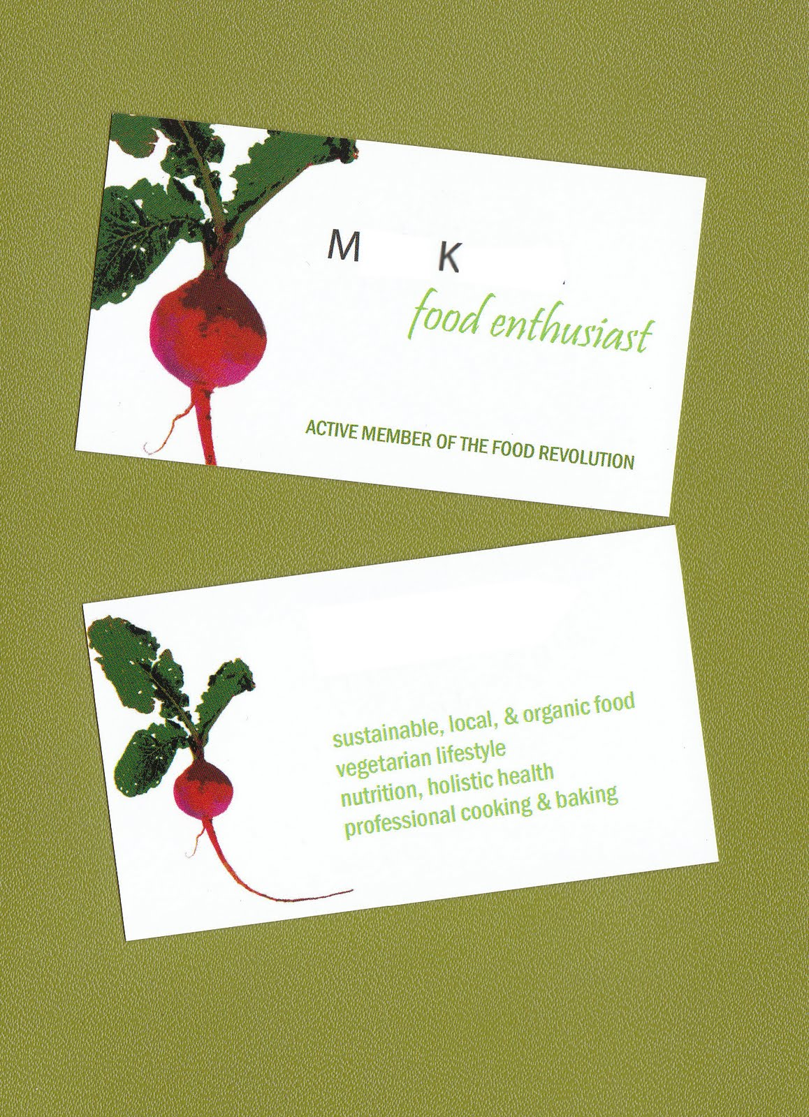 My food revolution new business cards my new business cards arrived i am super proud of my radish logo custom designed by my own personal graphic artist and architectural expert colourmoves
