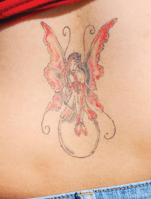 Female With Back Body Tattoos With Fairy Tattoo Styles