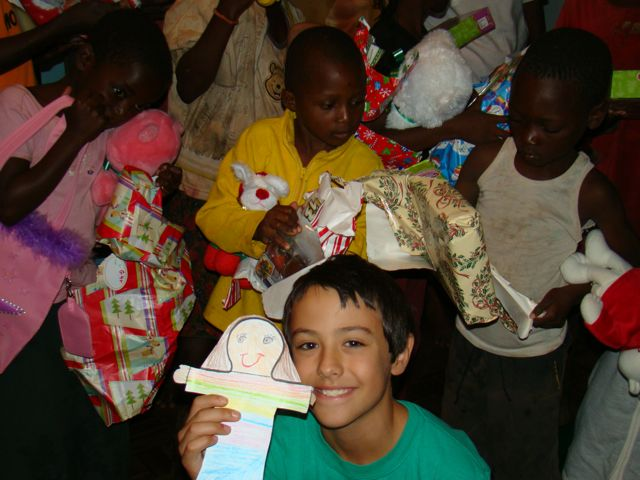 Trevor and Flat Sophia handing out gifts