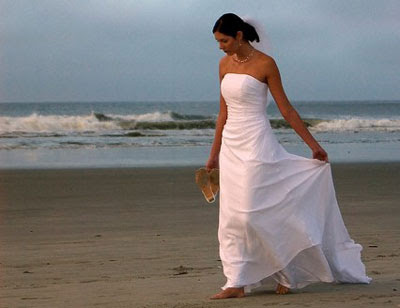 tropical beach wedding dress photo