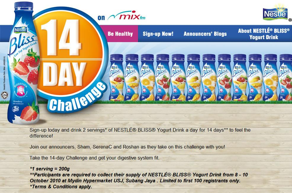 Sign-up today and drink 2 servings* of NESTLÉ® BLISS® Yogurt Drink a day for