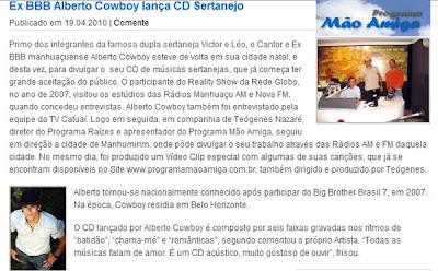 ALBERTO COWBOY NO SITE PROGRAMA MÃO AMIGA
