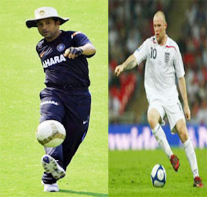 Sachin and Rooney playing football