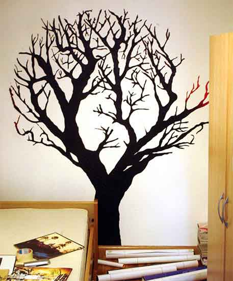 Rareinterior rare wall paintings for Black tree wall mural