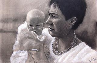 el espejo de María : retratos. madre e hija. caboncillo 65x50.