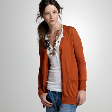 Cotton long V-neck cardigan
